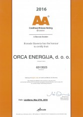 Creditworthiness Rating AA Orca Energija